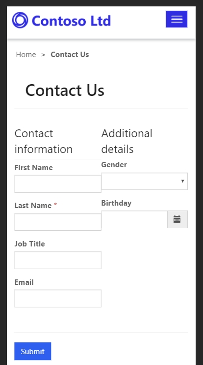 Sample Entity Form Mobile